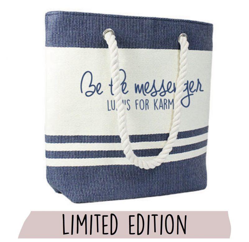 Strandtas marineblauw met opdruk