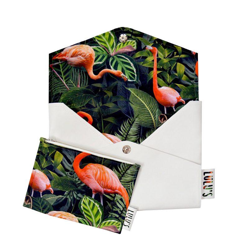 Laptophoes met Flamingo print en botanische achtergrond